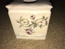 Croscill CHAMBORD CASSIS Scroll Floral Roses Embossed Tissue Box Cover