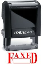 FAXED text with Date Box, IDEAL 4911 Self-inking Rubber Stamp with RED INK