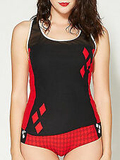 Harley Quinn Batman DC Comics Red Black Mesh Tank Top Panty Pajama Set L Cosplay