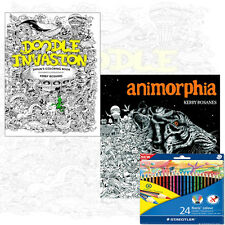 Kerby Rosanes Colouring Books Animorphia & Doodle Invasion 2 Books With Pencils