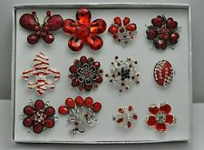 FASHION JEWELRY LOT 12 PCS RED COLLECTION CHIC COCKTAIL COSTUME  RINGS SD-98