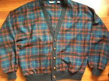 PENDLETON Mens XL Vtg Cardigan Sweater Wool Tartan Plaid USA Grandpa Grampa