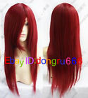 New Long Dark RED Cosplay Straight women's hair full Wig/Wigs + Free wig cap