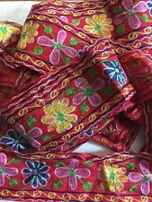 Vintage Embroidered Border Floral Trim Indian Crafts Decorating Ribbon 1YD Sari