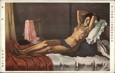 Nude Woman on Bed TOSHI 1935 Japanese Postcard