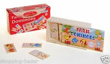DOMINOES WOODEN BOX GAMES FARM DOMINOES TRAVEL CHILDREN TRADITIONAL TOYS 28 PCS