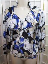White House Black Market ladies PRETTY blue & white floral & ruffled top SZ S