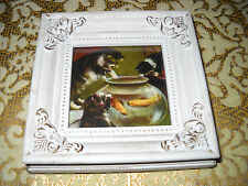 CATS FISHBOWL 4 X 4 tiny standing wood framed picture Victorian style art print