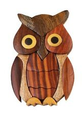 INTARSIA WOOD OWL MAGNET, handsome handcrafted wood mosaic