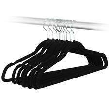 10PC Slim Space Saving Non-slip Velvet Velour Black  Hangers 17.7""