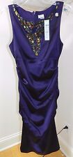 WOMENS purple fitted party DRESS = CACHE = SIZE 10 = NEW $198 - cs33