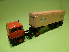 LION CAR DAF 2800 + CONTAINER TRAILER AHREND - PROMO WERBEMODEL - RED 1:50 - VG