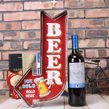 Retro Style Beer Signboard LED Light Iron Art Bar Wall Decoration Home Decor