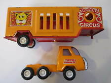 VINTAGE YELLOW BUDDY L TOY CIRCUS CARRIER TRUCK PRESSED STEEL JAPAN