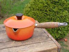 Le Creuset Enameled Cast Iron No. 14 Sauce Pan Pot Flame Orange w/ Lid
