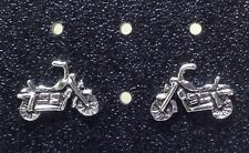 Sterling Silver Motorcycle Post / Stud Earrings. 1 Matched Pair Free Ship in USA