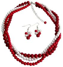 Red, Coral and White Pearl Twisted Three Strands Necklace Earrings Set