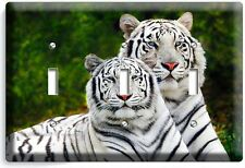 WILD COUPLE WHITE BENGAL TIGERS TRIPLE LIGHT SWITCH WALL PLATE ROOM HOME DECOR