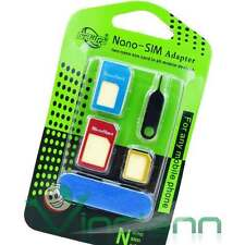 Kit 5in1 adattatore Nano Micro SIM limetta ago spillo per HTC One mini DRI