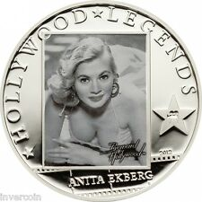 Anita Ekberg silver proof coin 5$ dollar Cook Islands 2012 Hollywood Legends