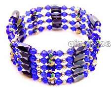 SALE Blue 6mm round Cloisonne Hematite Magnetic Beads necklace / Bracelet-281