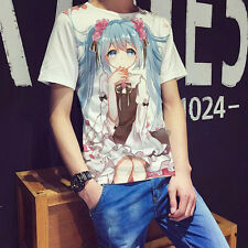 Japanese Anime VOCALOID, Hatsune Miku Unisex Short Sleeve White T-Shirt Tops