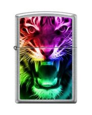 Zippo 0584 Rainbow Tiger Street Chrome Finish Full Size Lighter