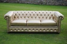Brand New Gold Bycast Leather Chesterfield Diamante 3 Seater Settee/Sofa!
