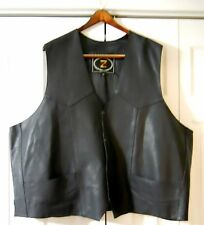 New 5x Zony Black Leather Motorcycle Vest, Men's or Women's