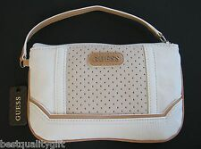 NEW-GUESS WHITE MULTI MARIOLA SLG STYLE TEXTURE WRISTLET WALLET CLUTCH,BAG