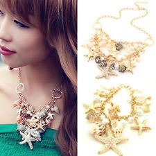 Hot Summer Beach Statement Starfish Shell Conch Pearl Pendants Nacklace Chain