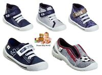 ANKLE TRAINERS Boys canvas shoes with REAL LEATHER insole NEW Velcro strap