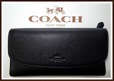 NWT NEW $250 Coach Pebbled Leather Checkbook Wallet BLACK w/ GIFT BOX & RECEIPT