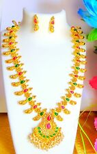 NatureCharm Traditional mango design Long  Necklace Set with Earrings