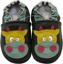 carozoo cow dark brown 18-24m C2 soft sole leather baby shoes