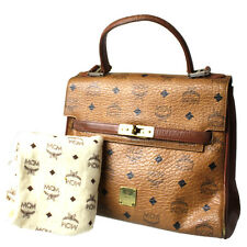 MCM Logos Pattern Hand Bag Brown PVC Leather Germany Vintage Authentic #2576