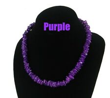 "18"" PURPLE HAWAII PUKA ROSE CLAM SHELL NECKLACE"