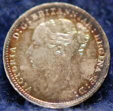 Great Britain, 1887 3 Pence, silver, Choice About Uncirculated, pretty tone  gls