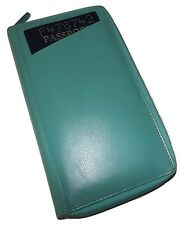 NEW ITALIA LEATHER RFID PROTECTED ZIP PASSPORT ORGANIZER TRAVEL WALLET TURQUOISE