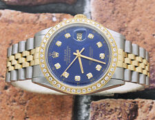Gents Steel & Gold Blue Diamond Dial and Bezel Rolex Oyster Perpetual Datejust.