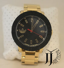 NEW ADIDAS ORIGINALS MEN'S AMSTERDAM GOLDTONE & BLACK 54MM WATCH ADH3003