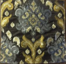 MPC512 HEAVY Embroidered Lampas Ikat SILK Fabric Remnant DIY Crazy Quilt Sew