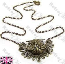 CUTE FEATHERED OWL HEAD pendant NECKLACE vintage brass WISE BIRD feathers BOHO
