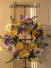 Gisela Graham Easter Wreath Home Wall Door Decoration Mixed Flowers Wreath