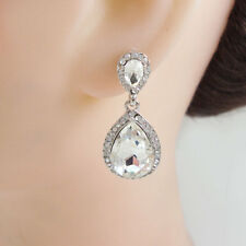 Bride Wedding Austrian Crystal Clear Teardrop  Dangle Earrings Silver Tone