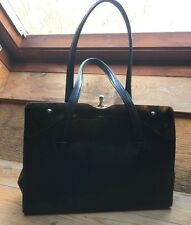 Black Alligator Vintage Frame Handbag/Lucite Panel/Grace Kelly/1950's/60's/Retro