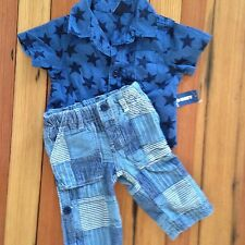 GAP PATCHWORK PANTS & NWT OLD NAVY STAR SHIRT OUTFIT SET BOY 3-6M