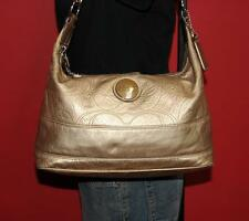 COACH Signature 'C' Gold Metallic Shopper Tote Shoulder Satchel Purse Bag 18882