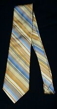 "New Mens Tie Ike Behar New York 66"" Long 3.75"" Wide Extra Long Gold Blue Striped"