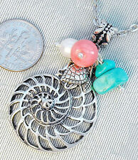 "Shell Sea Turtle Gen.Turquoise Pink Coral Pearl Pendant Necklace 18"" Chain ==.."